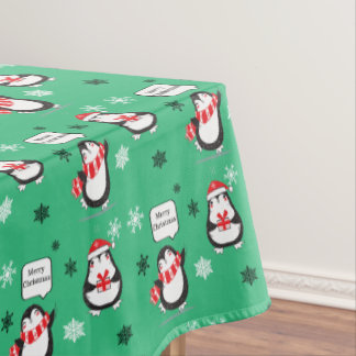 Merry Christmas Penguin  green Holiday Tablecloth