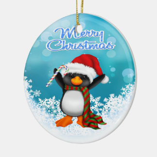 Merry Christmas Penguin Round Ornament