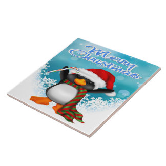 Merry Christmas Penguin Tile/Trivet Tile