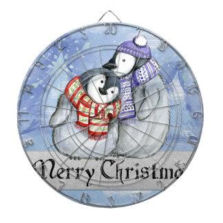 Merry Christmas Penguin Watercolor Card Winter Dartboard