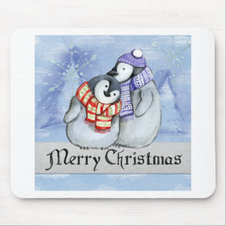 Merry Christmas Penguin Watercolor Card Winter Mouse Pad