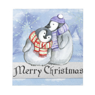 Merry Christmas Penguin Watercolor Card Winter Notepad