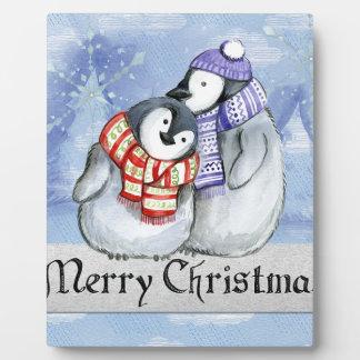 Merry Christmas Penguin Watercolor Card Winter Plaque