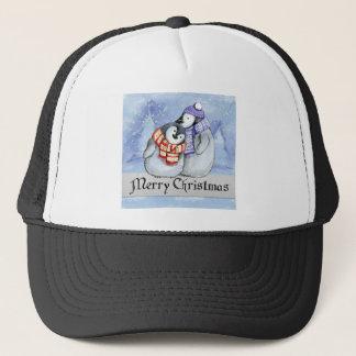 Merry Christmas Penguin Watercolor Card Winter Trucker Hat