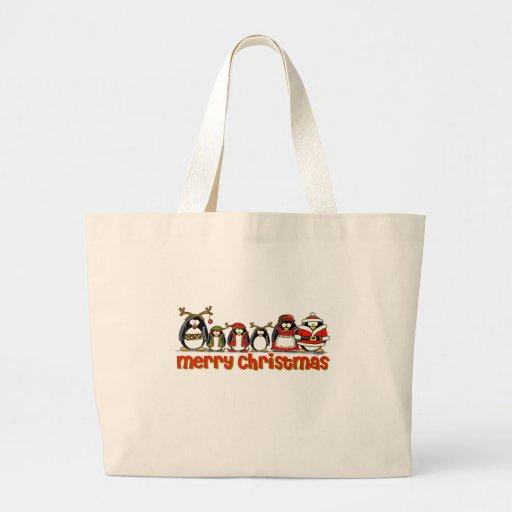 Merry Christmas Penguins Canvas Bag