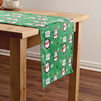 Merry Christmas Penguins Snowflake Table Runner