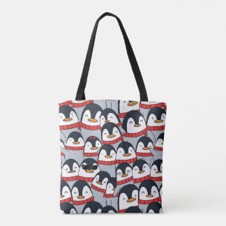 Merry Christmas Penguins Tote Bag