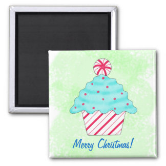 Merry Christmas Peppermint Cupcake Art Green Square Magnet