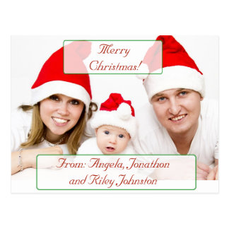 Merry Christmas personalized Family Photo Postcard