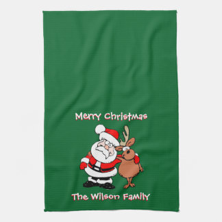 Merry Christmas Personalized Green Tea Kitchen Towel