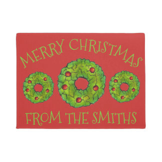 Merry Christmas Personalized Holly Wreath Holiday Doormat