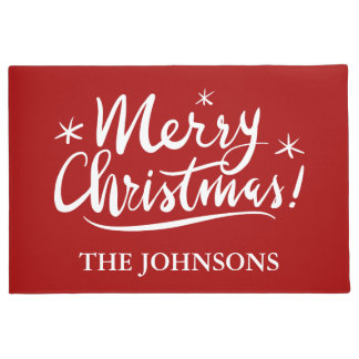 Merry Christmas personalized name red Holiday Doormat