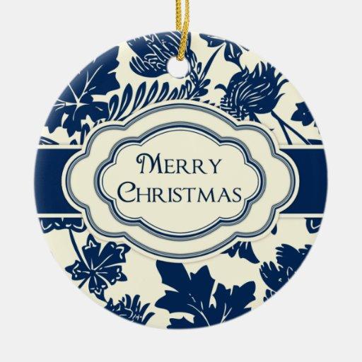 Merry Christmas Personalized Ornament Elegant Blue