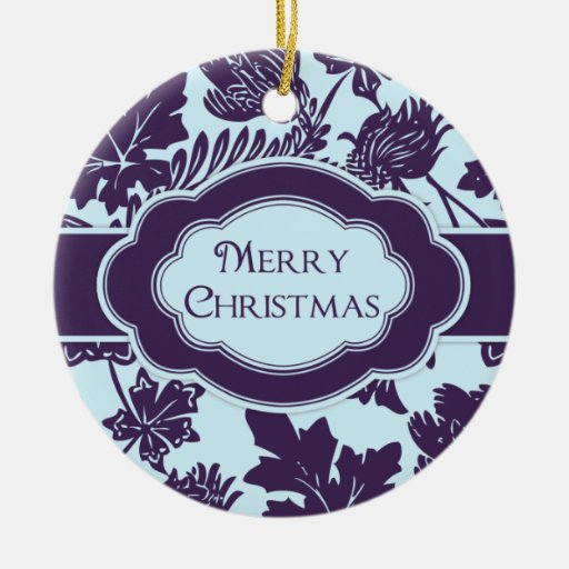 Merry Christmas Personalized Ornament Purple Blue