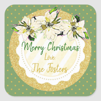 Merry Christmas Personalized Poinsettia Stickers