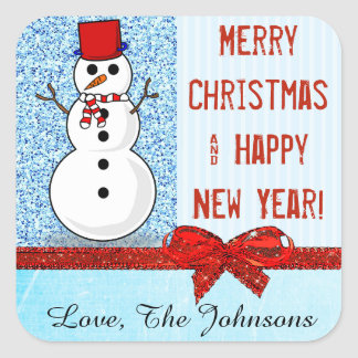 Merry Christmas Personalized Snowman Sticker Blue