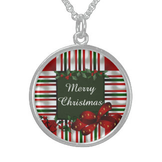 Merry Christmas Personalized Sterling Silver Necklace