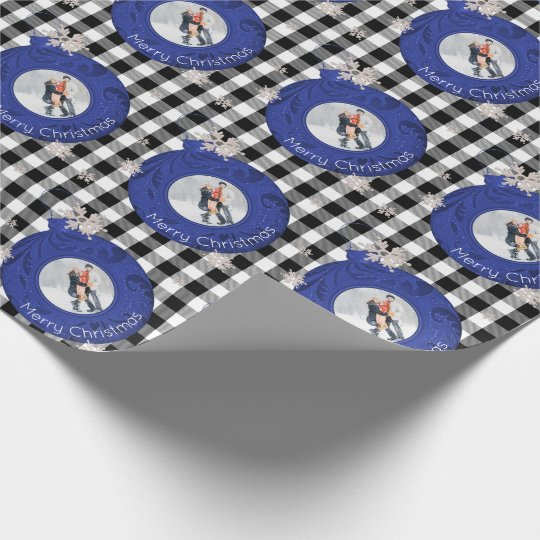 Merry Christmas Photo Blue Black & White Plaid Wrapping Paper