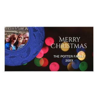 Merry Christmas Photo Blue Red Green Bokeh Photo Card