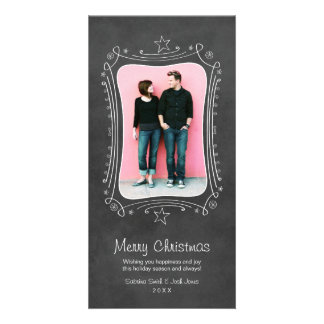 Merry Christmas Photo Card | Black Chalkboard