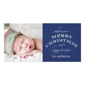 MERRY CHRISTMAS PHOTO CARD BLUE