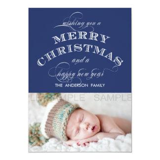 "MERRY CHRISTMAS PHOTO CARD BLUE 5"" X 7"" INVITATION CARD"
