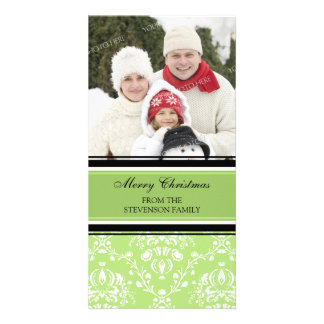 Merry Christmas Photo Card Green Damask
