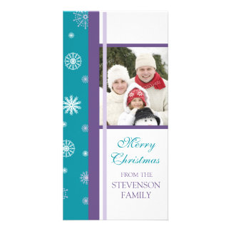 Merry Christmas Photo Card Turquoise Snowflakes