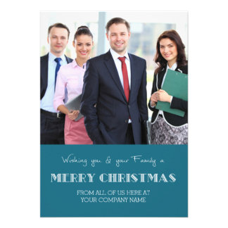 Merry Christmas Photo Cards Blue Business