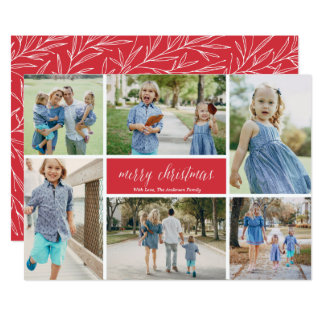 Merry Christmas Photo Collage 9 Photos Card