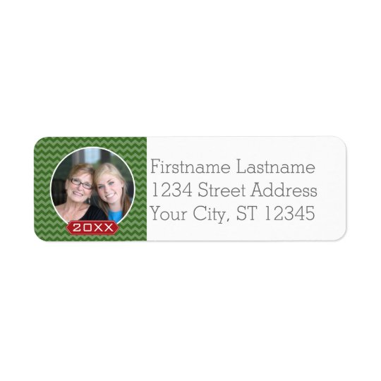 Merry Christmas Photo Custom Year - Green Red Return Address Label