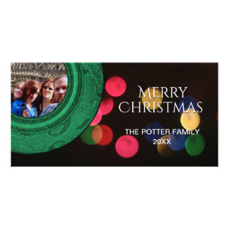 Merry Christmas Photo Green Red Blue Gold Bokeh Customized Photo Card