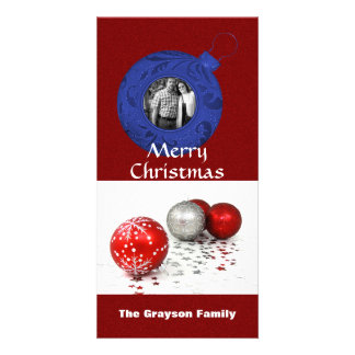 Merry Christmas Photo Red White Blue Glitter Picture Card