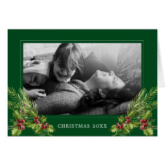 Merry Christmas   Photo Watercolor Holly & Pines Card