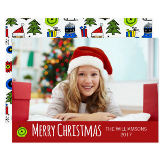 Merry Christmas Photo Whimsical Ornaments Modern Card