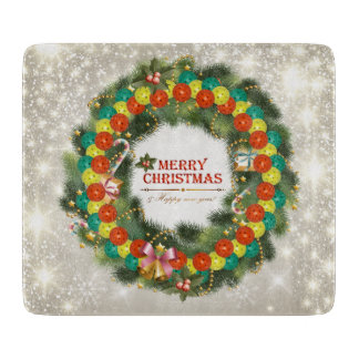 Merry Christmas Pickleball 1 Glass Cutting Boards