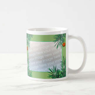 Merry Christmas Pine 2-Photo Frame Coffee Mug
