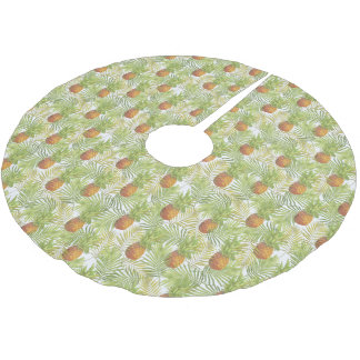 Merry Christmas Pineapple Tropical Island Brushed Polyester Tree Skirt