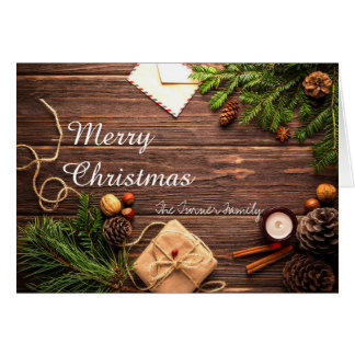 Merry Christmas Pinecones and Trees Holiday Card