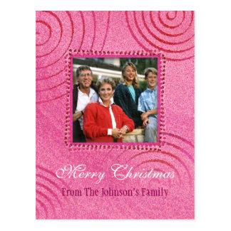 Merry Christmas | Pink Christmas Photo Template Postcard