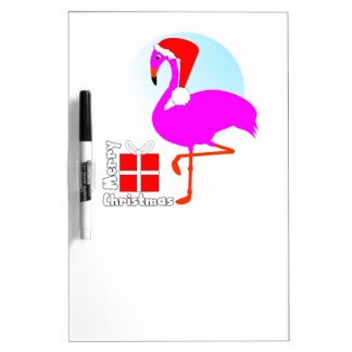 Merry Christmas Pink Flamingo Cute Trendy Graphic Dry Erase Whiteboards