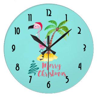 Merry Christmas Pink Flamingo With Palm Tree Wall Clocks