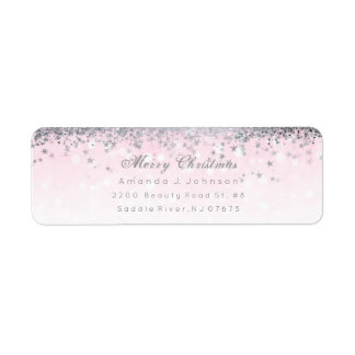 Merry Christmas Pink Silver Stars Snow Confetti