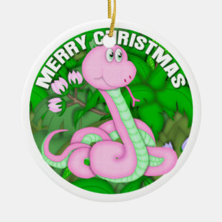 Merry Christmas Pink Snake Ceramic Ornament