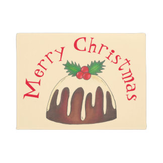 Merry Christmas Plum Pudding Holly Leaf Holiday Doormat