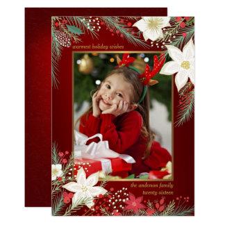 Merry Christmas Poinsettia & Pine Flat Photo Card