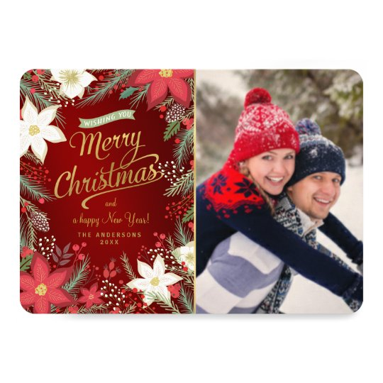 Merry Christmas Poinsettia & Pine Flat Photo Card