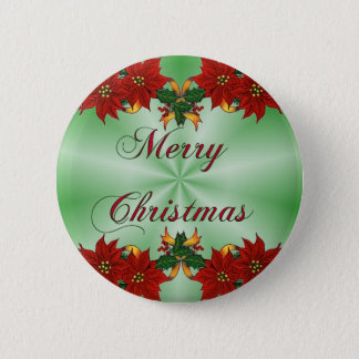 Merry Christmas Poinsettia Round Button