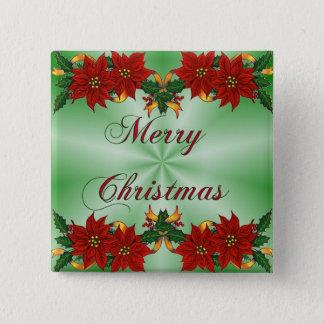 Merry Christmas Poinsettia Square Button