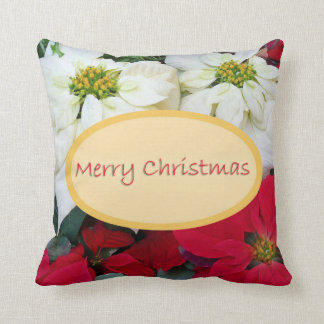 Merry Christmas Poinsettia Throw Pillow